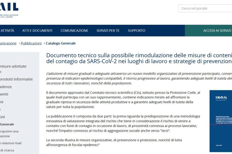 Nuovo documento INAIL per la gestione della FASE 2